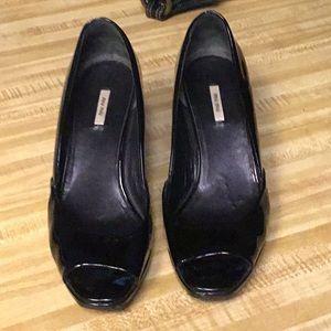 Miu Miu Black Patent Leather Wedges
